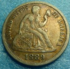 1889 SEATED LIBERTY 90% SILVER DIME    #89  better grade