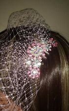 """Pink birdcage veil 9"""" with Pink and clear diamante rhinestone comb fascinator #1"""