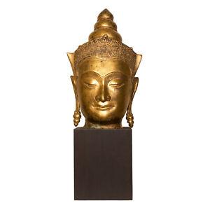Thai Gold Leafed Bronze Buddha head in Ayutthaya style