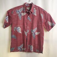 Cooke Street Honolulu size Large Reverse Print Aloha Hawaiian Shirt Washed Red