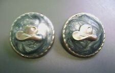 Hat Round Post Pierced Earrings! Vintage Southwestern Style Blue Swirl Cowboy
