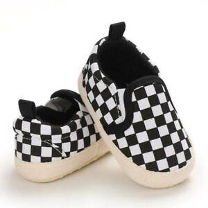 Baby Boy Black White Checkered Slip On Shoes  0-6 6-12 12-18 Months