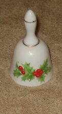 Collectible Porcelain Holly Christmas Dinner Bell - Japan