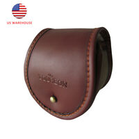 Tourbon Canvas&Leather Fly Fishing Reel Storage Pouch Case Padded Cover Bag