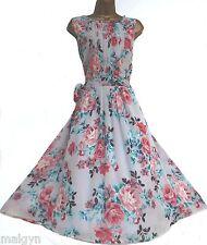 MONSOON ✩ impresionante GLORIA Floral Vestido De Té Verano de gasa de seda rosa ✩ Reino Unido 12