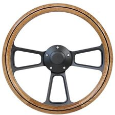 Wood Steering Wheel - Real Oak, Black Billet Complete with Horn Made in the USA