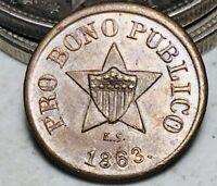 1863 Civil War Patriotic Token 191/443 PRO BONO PUBLICO New York US Coin CC6710