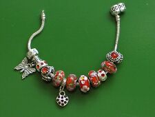 """7.5"""" SOLID 925 SILVER EURO BRACELET SUMMER BUTTERFLY & HEART CHARMS & STOPPERS"""