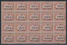 AUSTRIA 1919 OCCUPATION POSTAGE DUE Sc NJ10 BLOCK OF 20 MNH F,VF SCV$200.00++