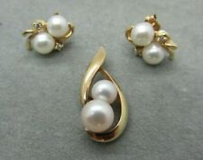 Vintage 14k Yellow Gold Pearls & Diamonds Pendant and Earrings Set