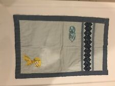 Vintage Baby Blanket With Puppy And Kitty Cut-out Cotton Blue Baby Blanket