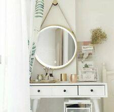 """20"""" Large Gold Wall Hanging Mirror LED Dimmable Light Round Bathroom Bedroom"""