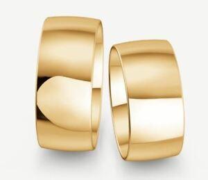Trauringe Gold 333 - Gelb-, Rot-,oder Weißgold - Poliert - Breite 9mm