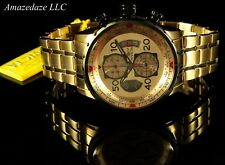 New Invicta Mens 18K Gold Plated Stainless St. Tachy Chronograph Aviator Watch.