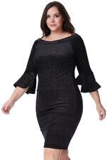 New- Black Velvet Dress-Gold Glitter - Bell Sleeves-Curve-20
