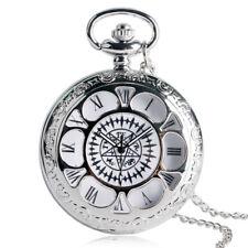 Silver Black Butler Kuroshitsuji Quartz Pocket Watch Roman Number Pendant Chain