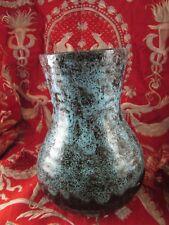 grand  en ceramique vernissée signé vers 1960 poterie jaspé design vintage