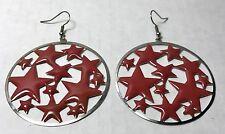 Red Enamel Star Theme Dangle Earrings On Silver-tone Loops