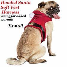 Christmas Holiday Santa costume dog clothes Hooded Santa Dog Harness vest XS