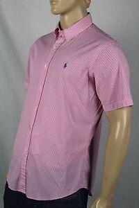 Ralph Lauren Pink Striped Custom Short Sleeved Dress Shirt Blue Pony NWT