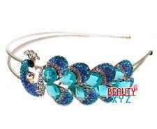 New blue Color Crystal High Quality Metal peacock headband