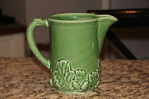 "Vintage Bordallo Pinheiro Green Acorn Leaf Pattern Pitcher 7"" Tall"