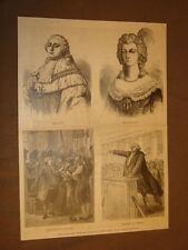Incisione 1887 Re Luigi XVI Re Sole Maria Antonietta Rivolta Mirabeau Francia