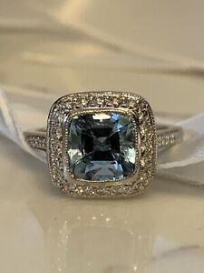 HALLOWEEN SALE! Rare Tiffany & Co Legacy Aquamarine and diamond ring