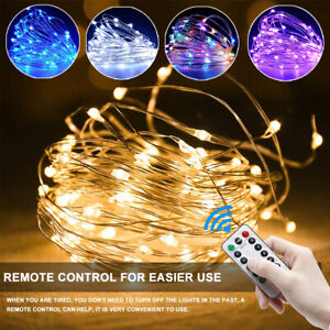 50/100/200 LED Fairy String Lights Battery Operated Xmas Party W/ Remote Control