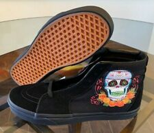 Vans Sk8-Hi Dia De Los Muertos Day of the Dead Black Skull DOTD Men's Size 13