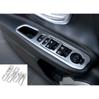 Silver Interior Window Lift Switch Frame Panel Trim Covers For Jeep Renegade 16+