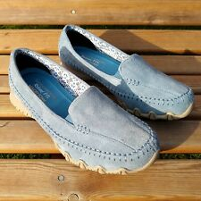 Skechers Relaxed Fit Memory Foam Blue Suede Leather Slip On Shoes EU 38 - UK 5