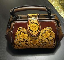 Hand Made Italian Leather Satchel / Crossbody Purse Brown Body w/ Carved Flowers