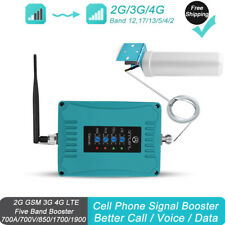 3G 4G LTE 700/850/1700/1900MHz Cell Mobile Phone Signal Booster Kit Data Voice