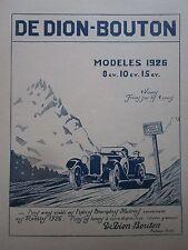 3/1926 PUB AUTOMOBILE MOTEUR DE DION BOUTON PUTEAUX MODELES 1926 ORIGINAL AD
