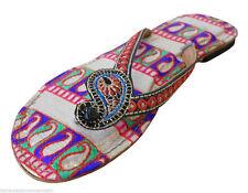 Women Slippers Indian Handmade Leather Designer Flip-Flops Flats Jutties US 6