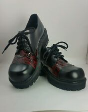 Epidemic Black Red Leather Snakeskin Pattern Cap Toe Oxford Shoes size 7