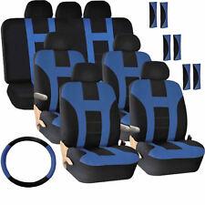 New Air Bag Seat Covers for Vans 30pc Blue Black Steering Wheel Belt Head Rests