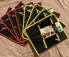 "Five Star Double Zipper Pouch, Pencil Pen 11"" x 9"" 3-ring,Red &Yellow, Lot Of 8"