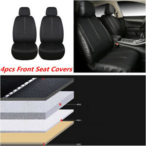4Pcs Black PU Leather Universal Car Seat Covers 2 Front Automotive Seat Covers