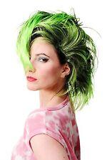 Wig Fancy Dress Carnival Punk Glam Vamp Teased Black Green