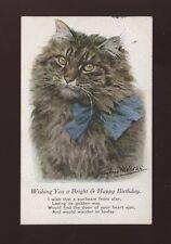 Animals CAT Birthday Greetings Artist Valter 1919 PPC