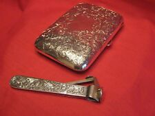 245.8g STUNNING LARGE 1904 SOLID SILVER CIGAR CASE & LARGE SILVER CIGAR CUTTER