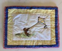 "Pottery Barn Kids Monkey Kite Standard Pillow Sham Plaid Quilted 20"" X 26"" Rare"