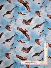 Animal Fabric - Hawk Bird Sky Elizabeths Studio North American Wildlife - Yard