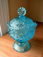 L G Wright Fenton Daisy & Button Blue Glass Compote with Lid