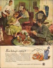 1950s vintage beverage Ad Beer great Art 'Impromptu Concert' John Gannam 011418
