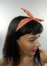 Bandeau foulard cheveux rigide cordon maléable tissu rouge et beige à rayures
