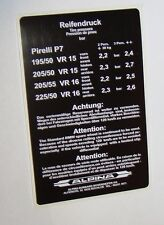 BMW Alpina reifendruck aufkleber BMW Alpina tyre pressure label