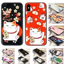 2-Pack iPhone XS, X Case Glossy Look Tempered Glass Lucky Fortune Cat Phone Case